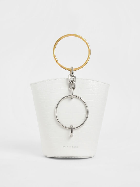 Croc-Effect Bracelet Bucket Bag, White, hi-res
