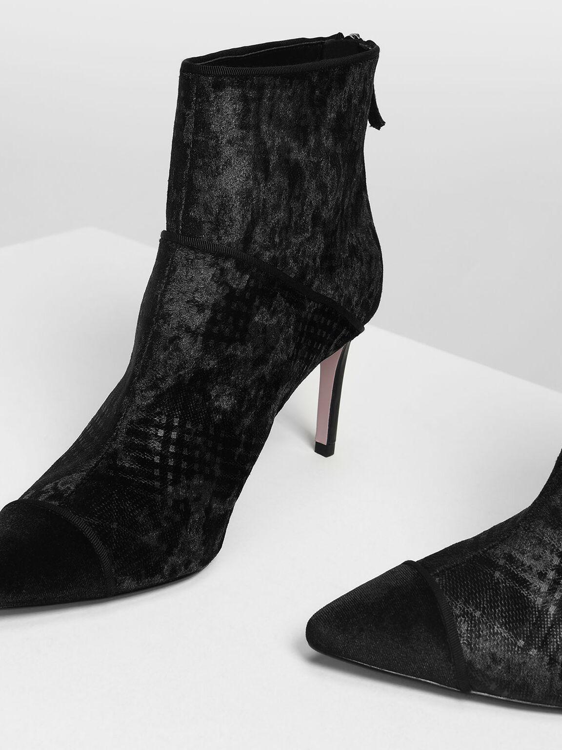 Velvet Heeled Ankle Boots, Black, hi-res