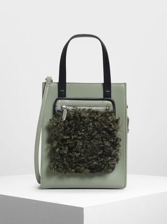 Zipper Compartment Tote Bag, Sage Green, hi-res