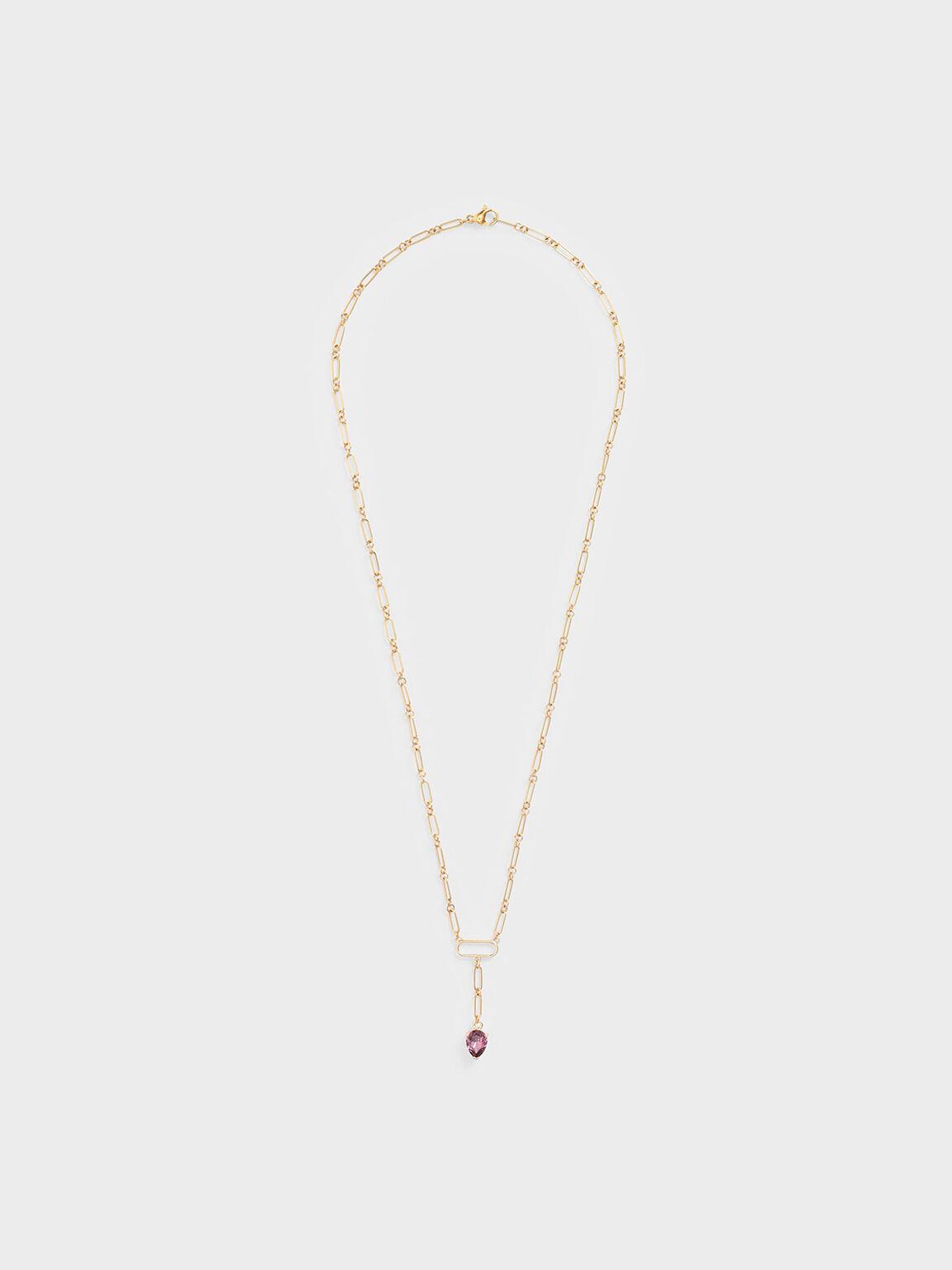 Crystal Drop Necklace, Gold, hi-res