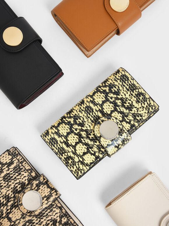 Mini Snake Print Chrome Button Wallet, Yellow, hi-res