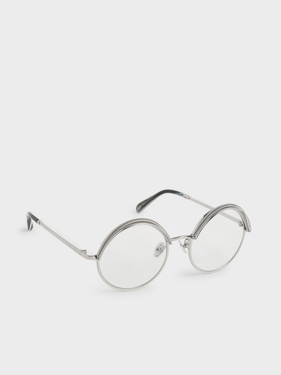 Half Rim Round Sunglasses, White, hi-res