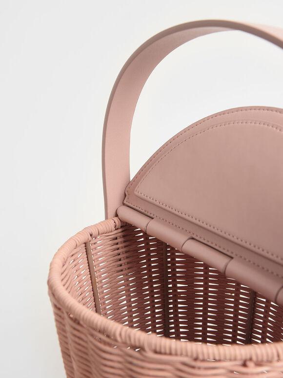 Rattan Cylindrical Top Handle Bag, Pink, hi-res