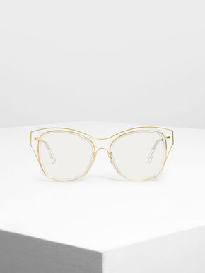 Double Frame Butterfly Sunglasses, White