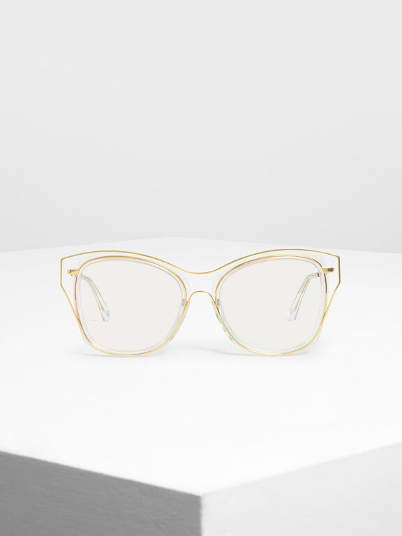 Double Frame Butterfly Sunglasses, White, hi-res
