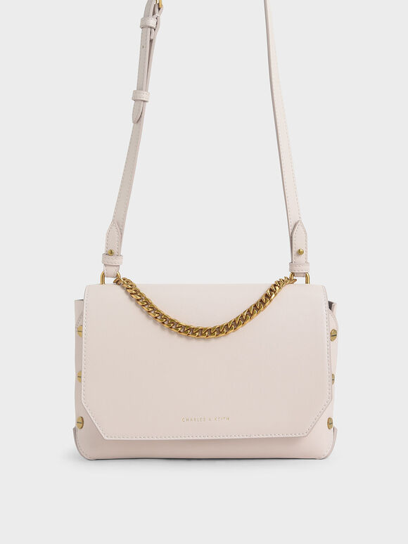Chain Handle Shoulder Bag, Pink, hi-res