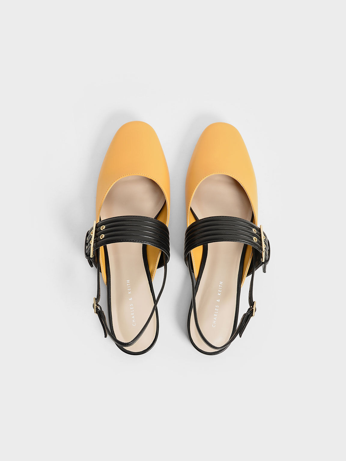 Grommet Strap Slingback Mary Janes, Yellow, hi-res