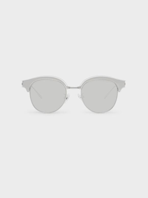Acetate Framed Wayfarers, Silver, hi-res