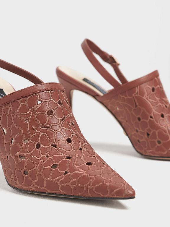 Floral Embroidery Slingback Heels, Brick, hi-res