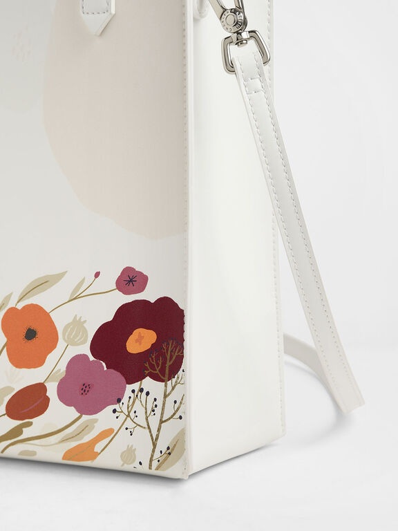 CHARLES & KEITH by Oamul Lu: Floral Illustration Tote Bag, White