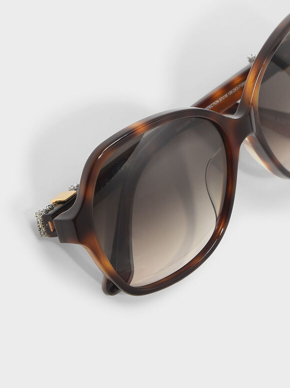Embellished Butterfly Sunglasses, T. Shell, hi-res