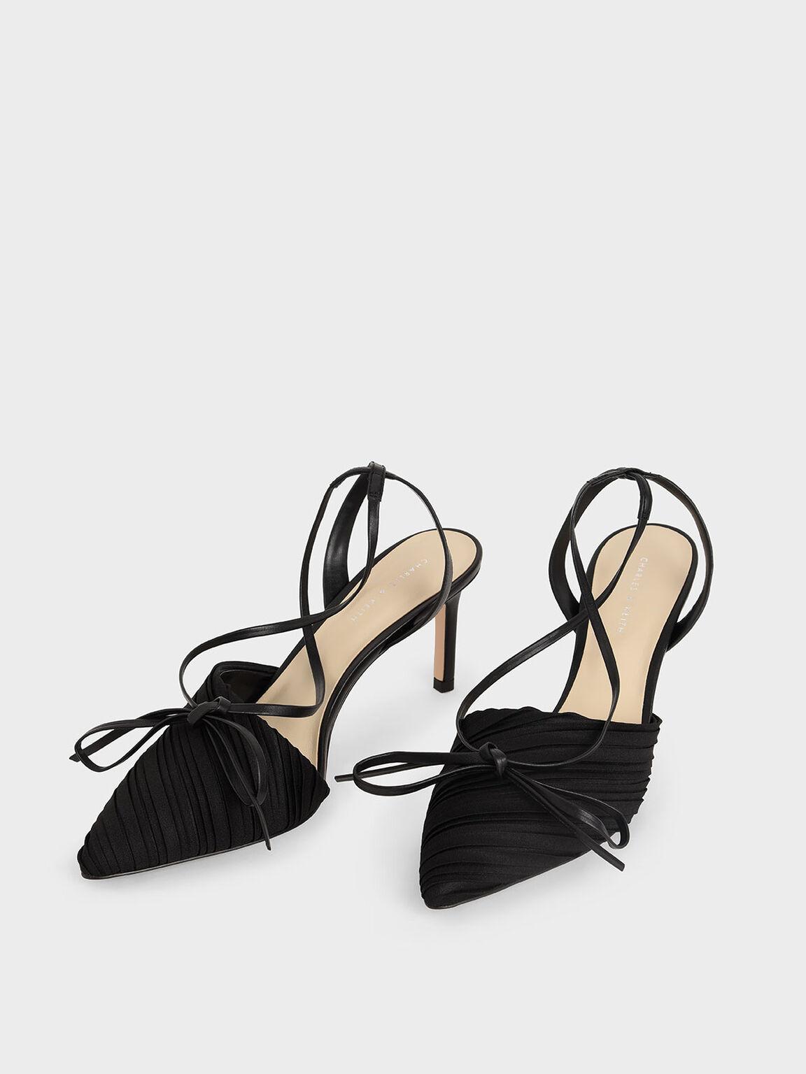Pleated Ankle-Tie Stiletto Pumps, Black, hi-res