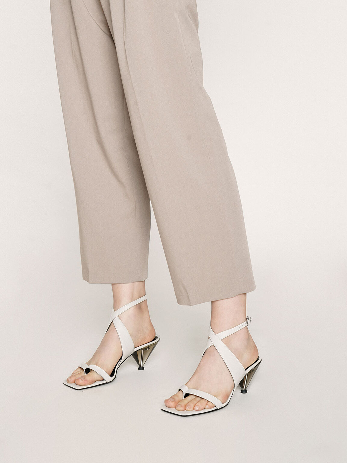 Leather Chrome Heel Sandals, White, hi-res