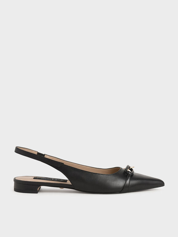 Embellished Leather Slingback Pumps, Black, hi-res