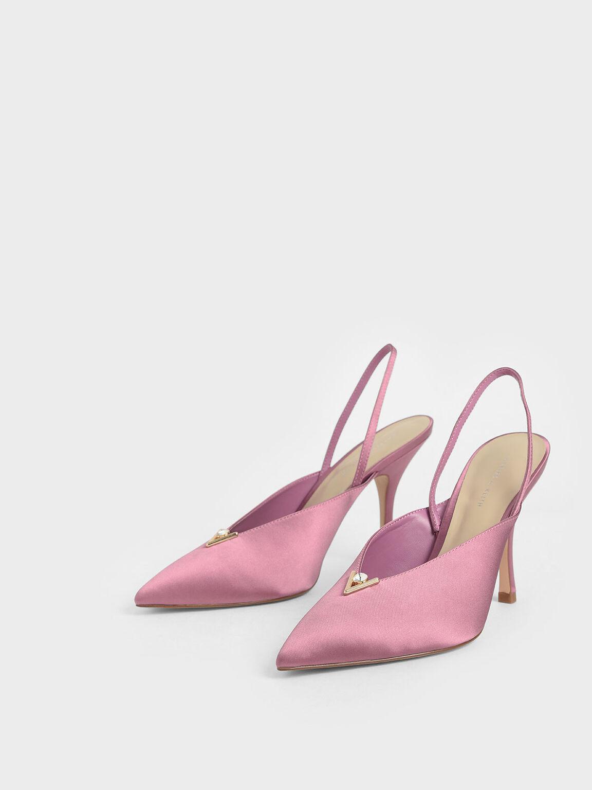 Satin Embellished Slingback Heels, Pink, hi-res