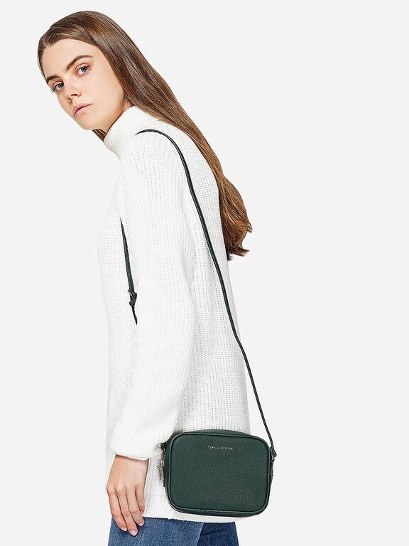 Curved Boxy Sling Bag, Green, hi-res