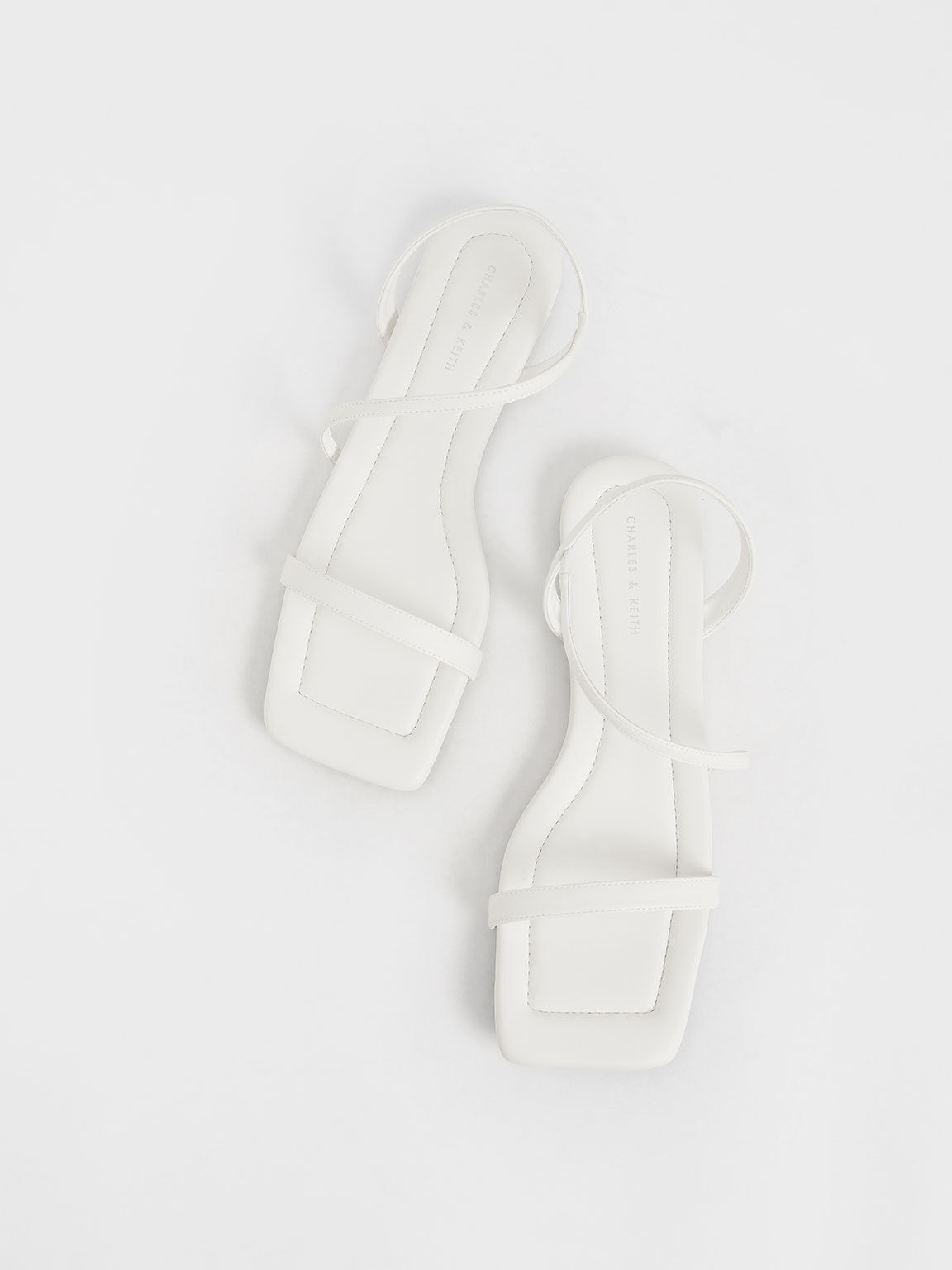 Strappy Flat Sandals, White, hi-res