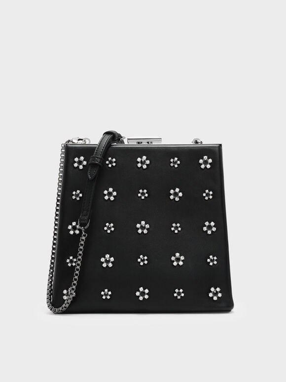 Embellished Leather Clutch, Black, hi-res