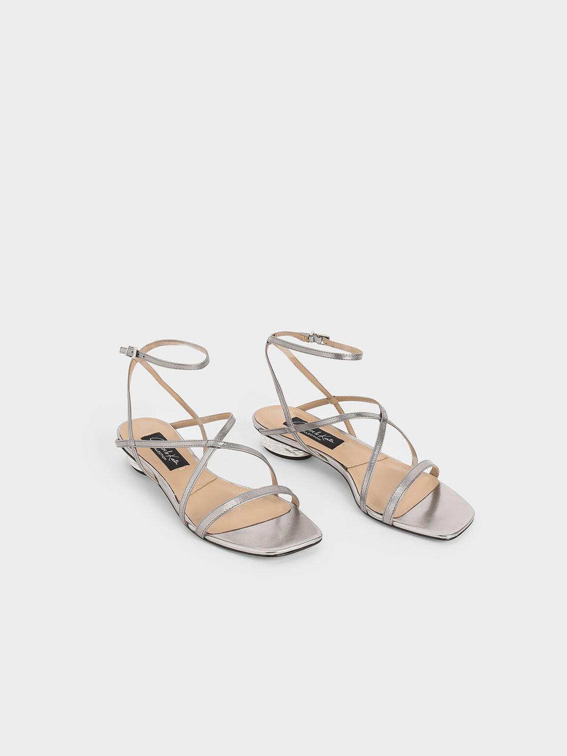 真皮低跟涼鞋, 金灰色, hi-res