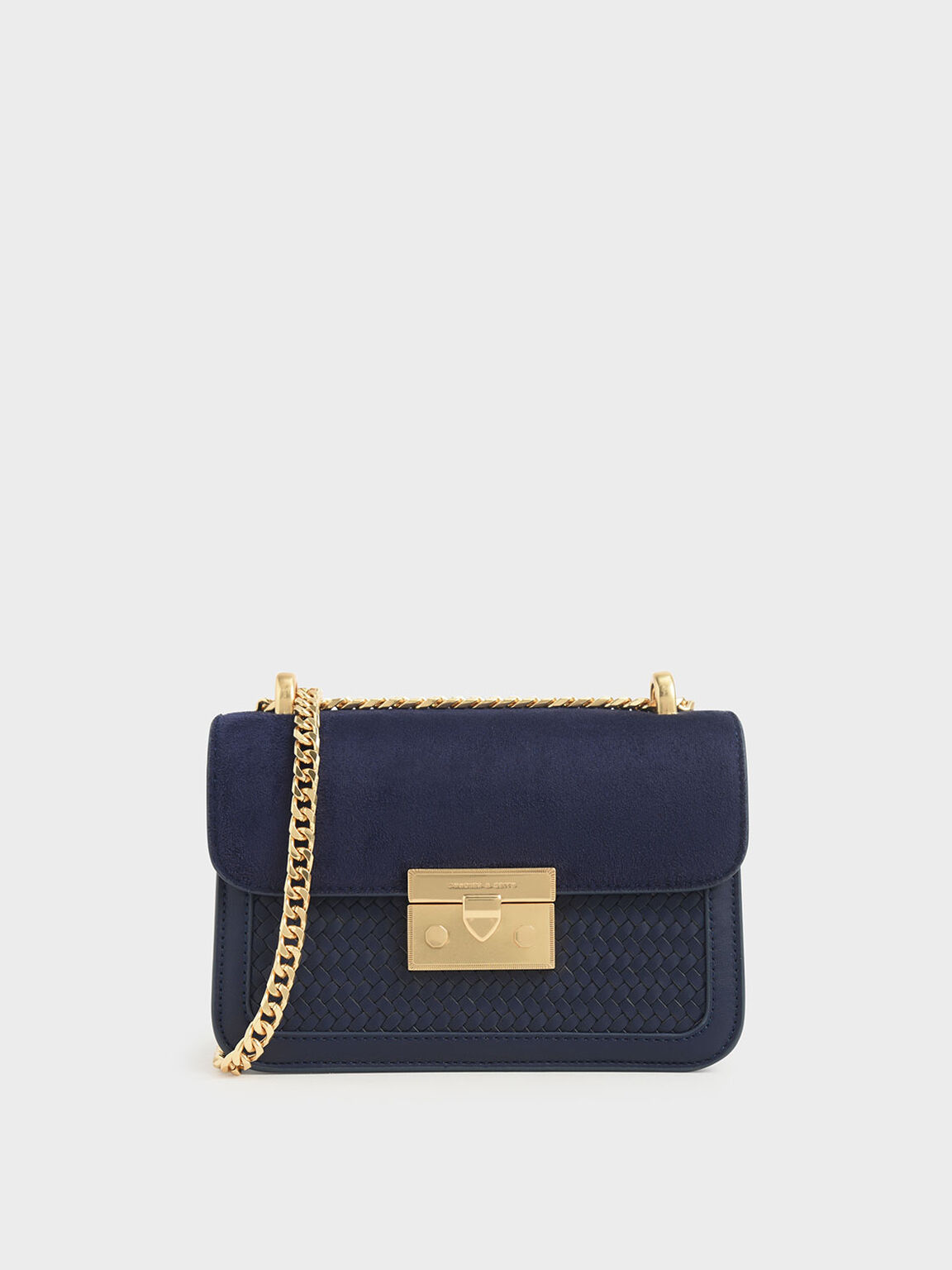 Woven Boxy Chain Strap Bag, Dark Blue, hi-res