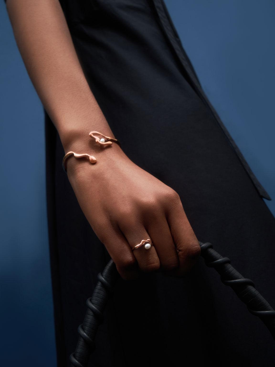 Sculpted Cuff Bracelet, Rose Gold, hi-res