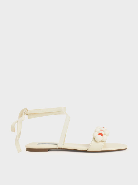Pom Pom Tie-Around Sandals, Chalk, hi-res