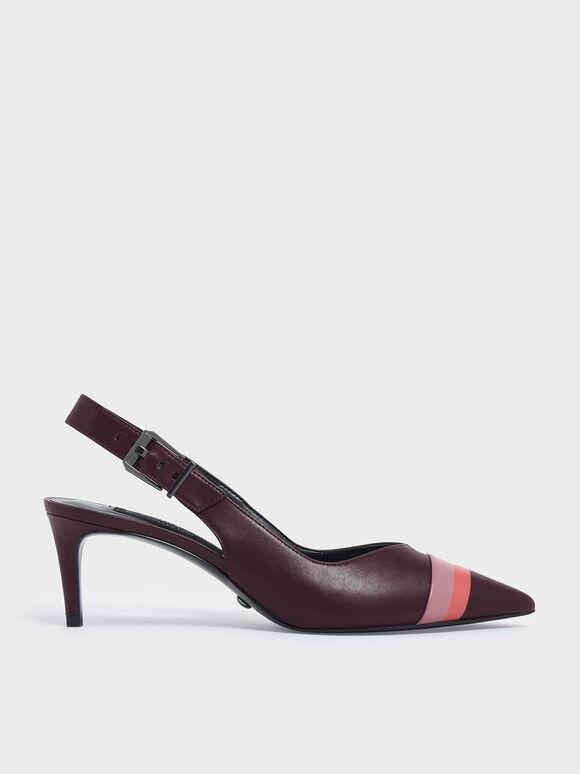 Striped Leather Slingback Heels, Prune, hi-res