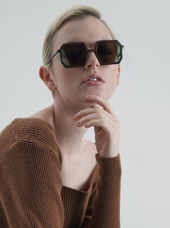 Two-Tone Geometric Sunglasses, Brown, hi-res