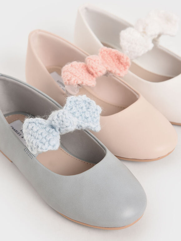 Girls' Crochet Bow Mary Jane Flats, Light Blue, hi-res