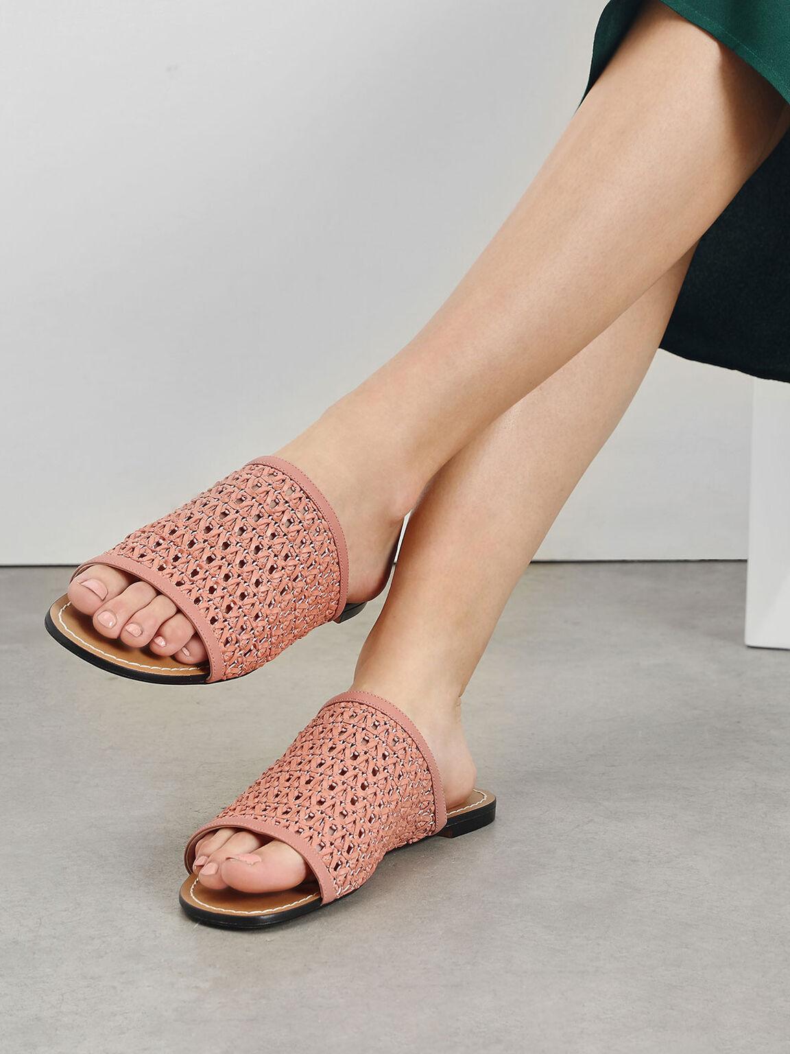 編織平底拖鞋, 嫩粉色, hi-res