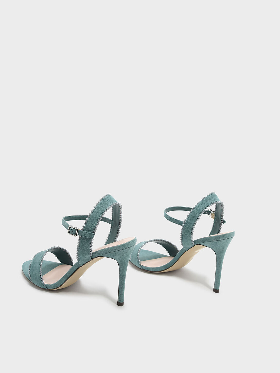 Beads Trimming Ankle Strap Heels, Green, hi-res
