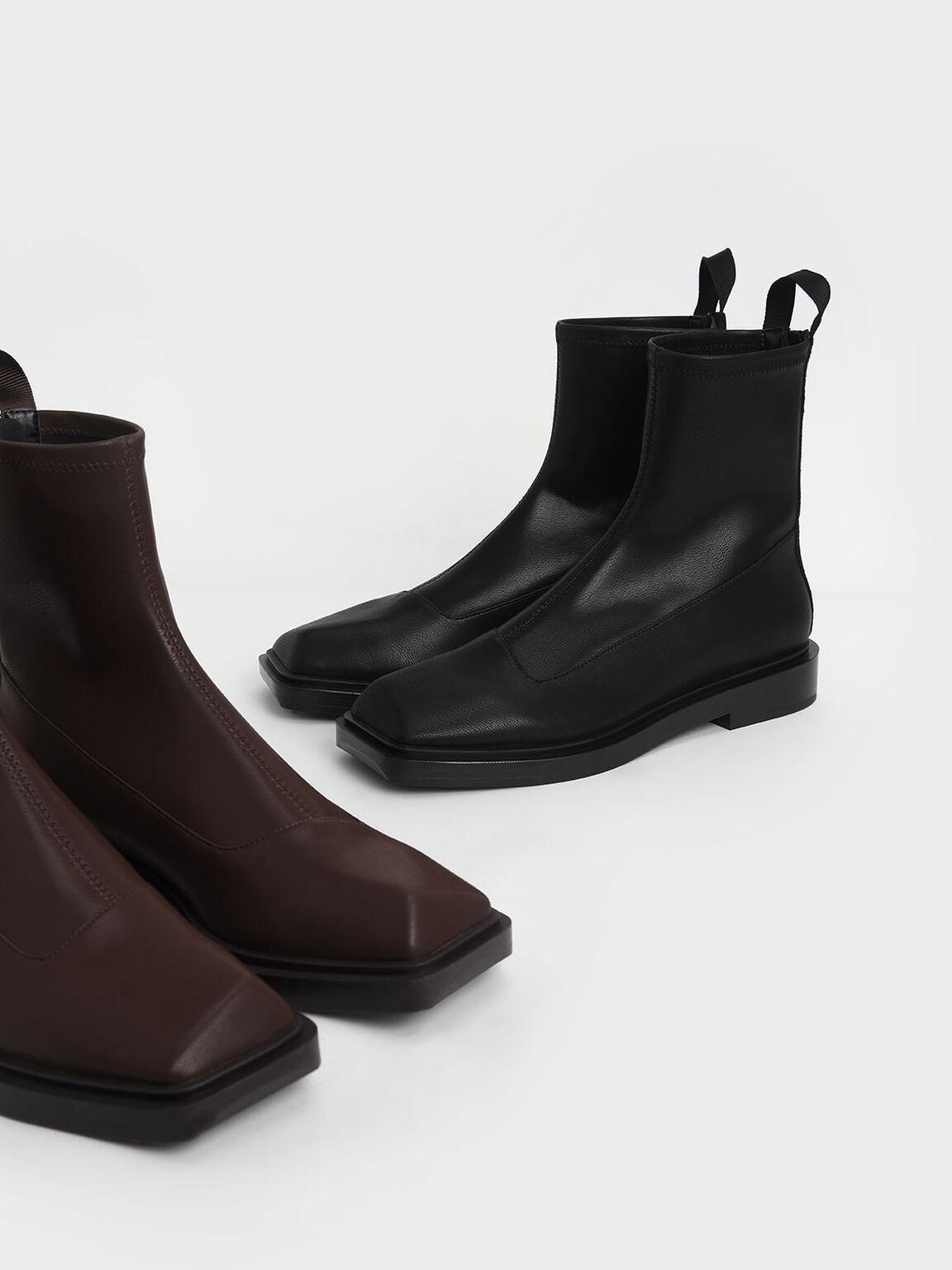 Sculptural Ankle Boots, Dark Brown, hi-res