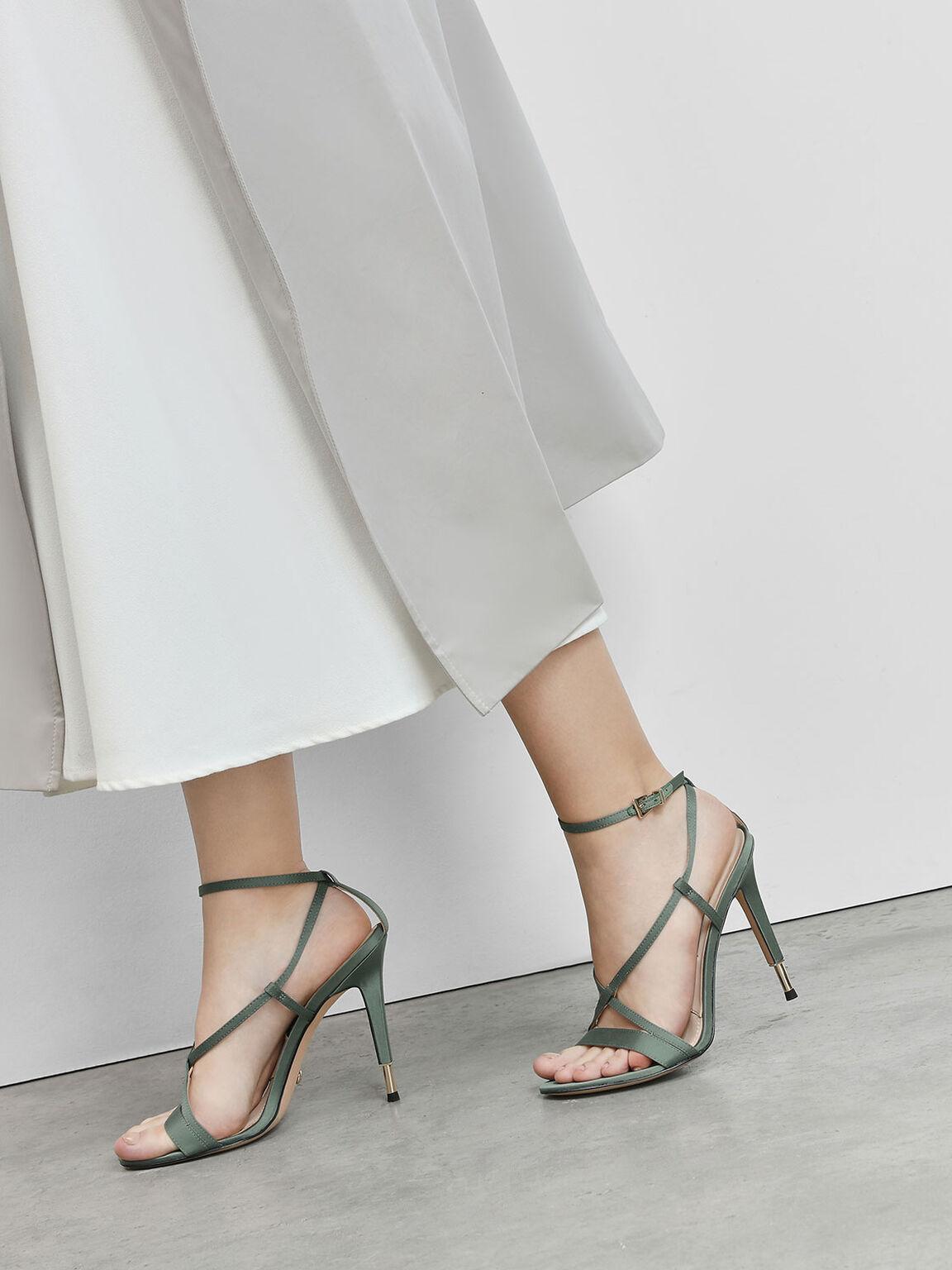 Satin Criss Cross Sandals, Sage Green, hi-res