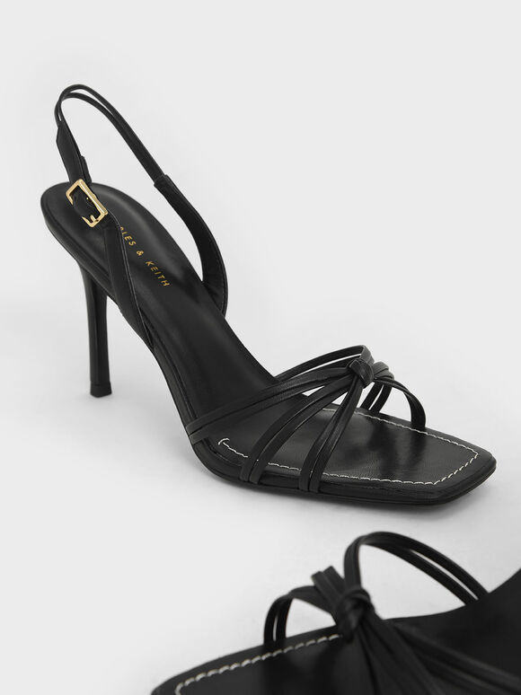 Strappy Slingback Heeled Sandals, Black, hi-res
