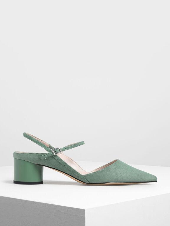 Circular Block Heel Slingbacks, Mint Green, hi-res