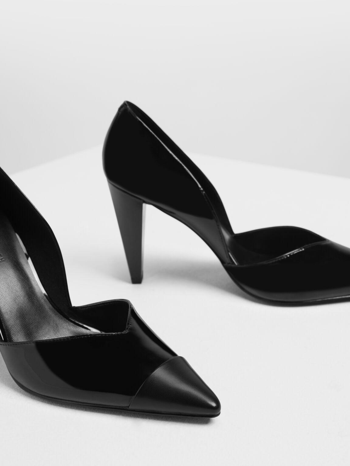 Pointed Toe D'Orsay Pumps, Black, hi-res