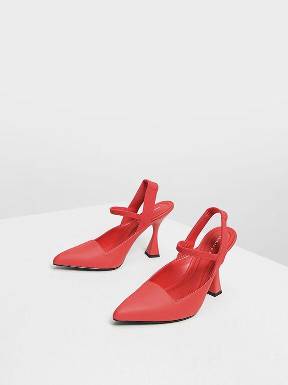 Sculptural Heel Slingback Sandals, Red