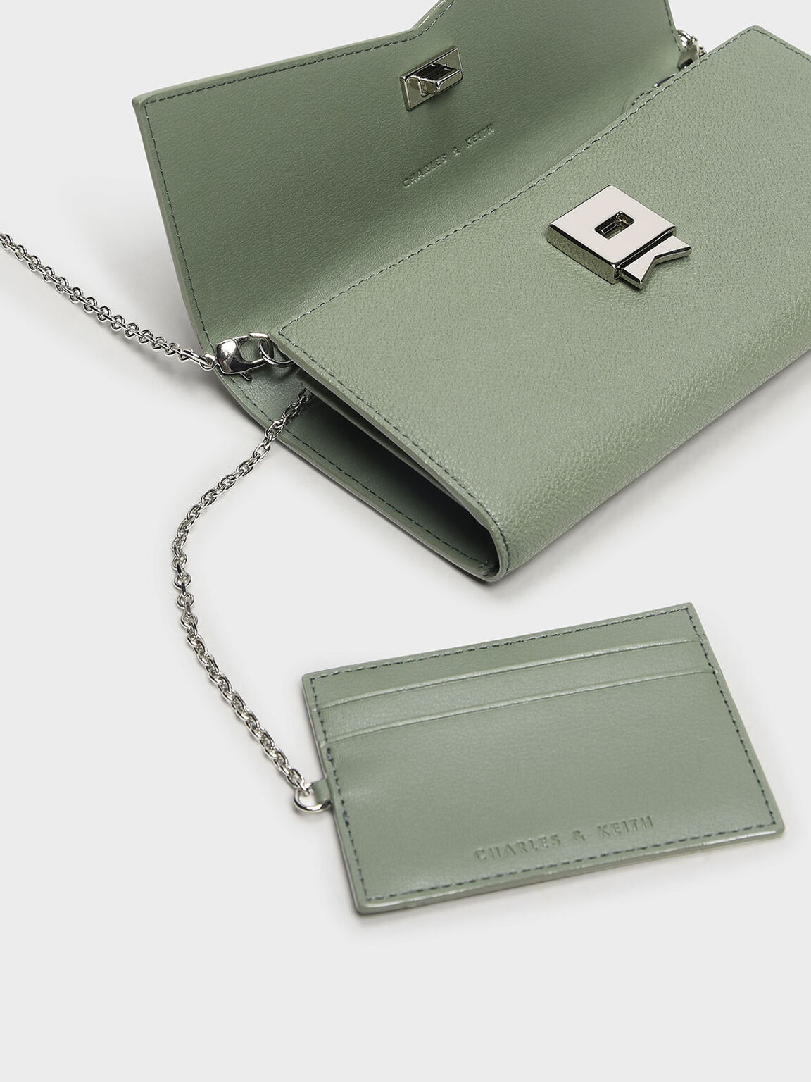 Metallic Accent Long Wallet, Sage Green, hi-res