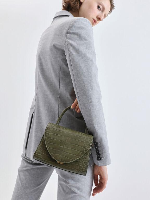 Croc-Effect Structured Top Handle Bag, Olive, hi-res