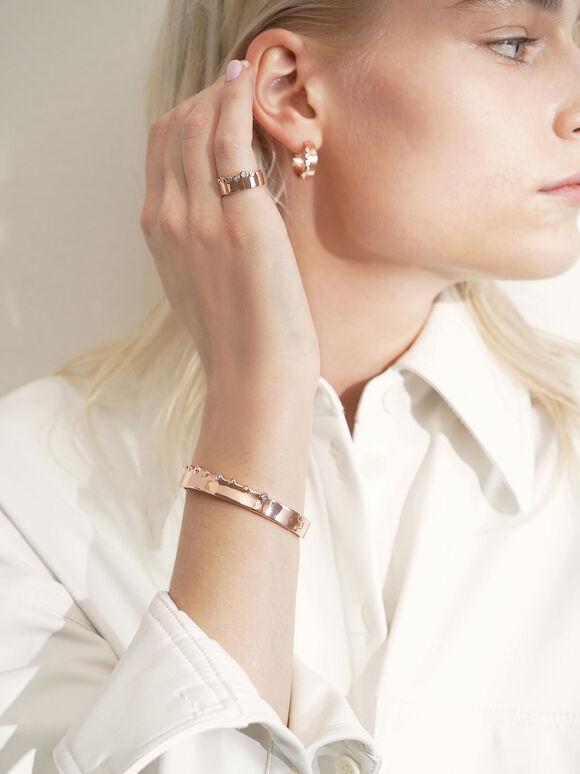 Swarovski® Crystal Studded Bracelet, Rose Gold, hi-res