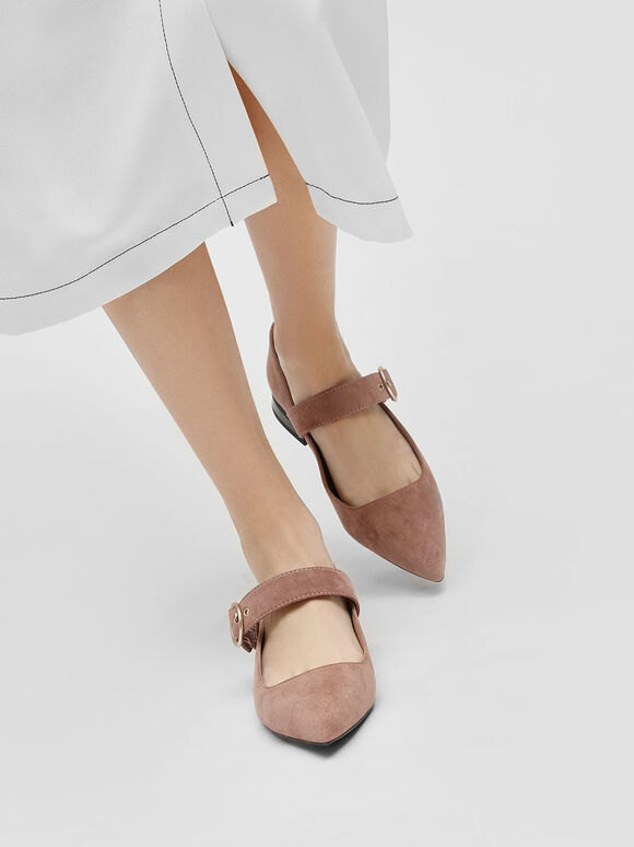 Gold Buckle Detail Mary Jane Flats, Taupe, hi-res
