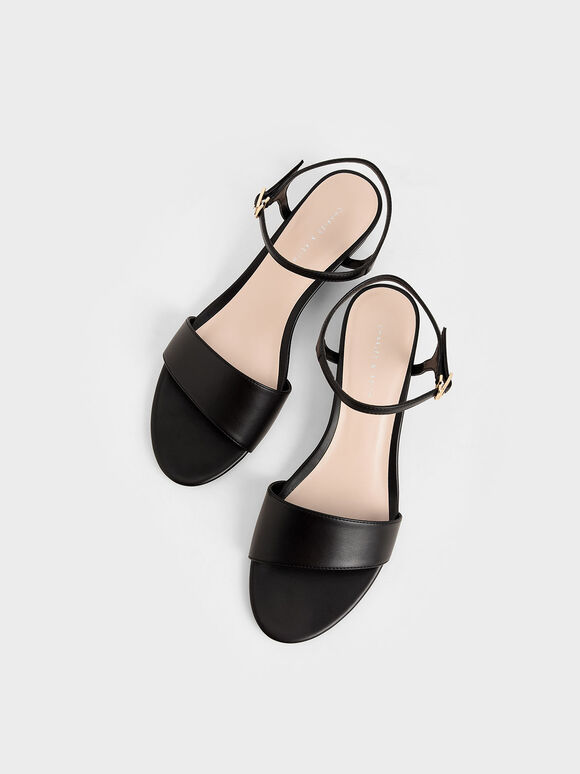 Asymmetric Wedge Sandals, Black, hi-res