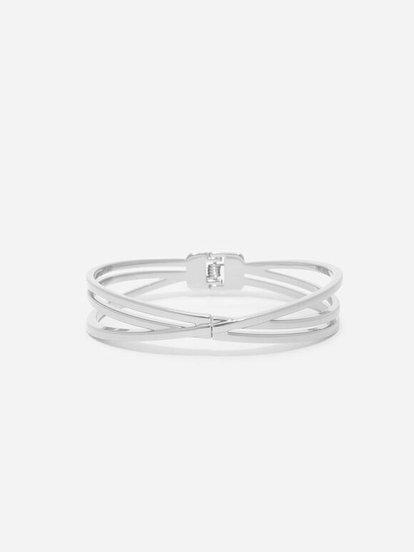 Criss Cross Bangle, Silver, hi-res