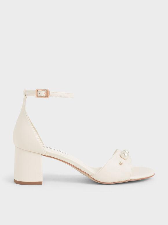珍珠繞踝涼鞋, 石灰白, hi-res