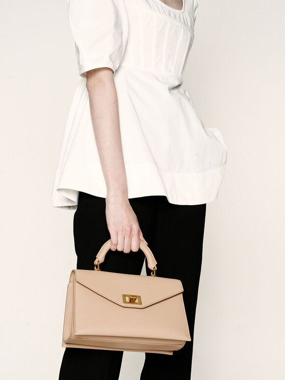 Turn-Lock Top Handle Bag, Beige, hi-res
