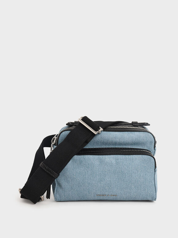 Textured Double Zip Bag, Denim Blue, hi-res