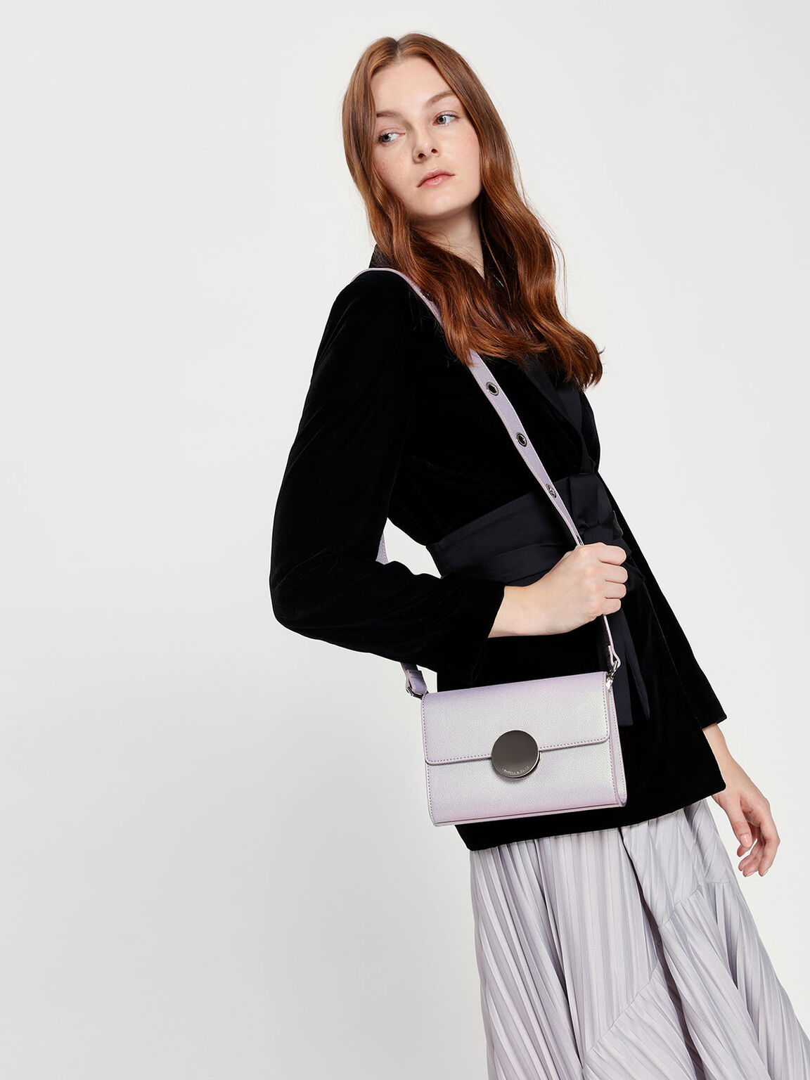 Circular Push Lock Crossbody Bag, Peacock, hi-res