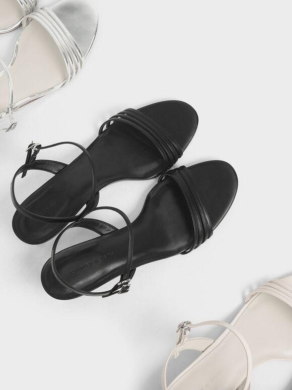 Ankle Strap Clear Wedges, Black, hi-res