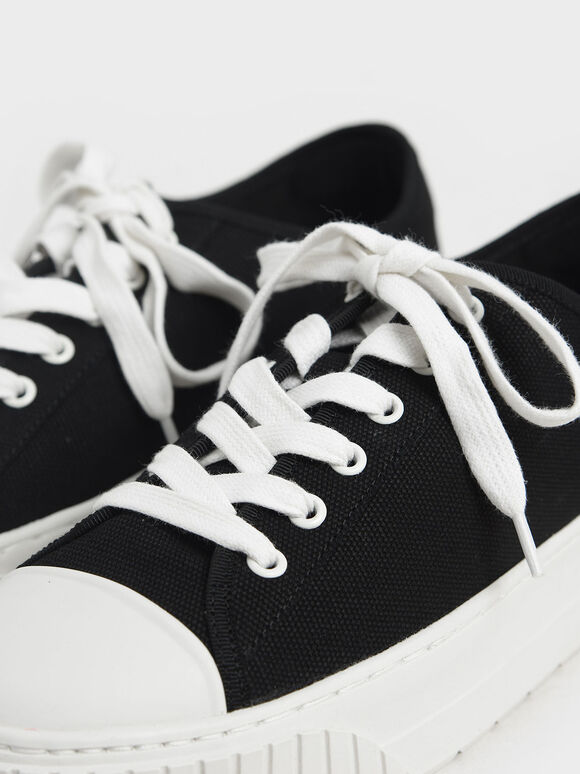 Purpose Collection 2021: Organic Cotton Platform Sneakers, Black, hi-res
