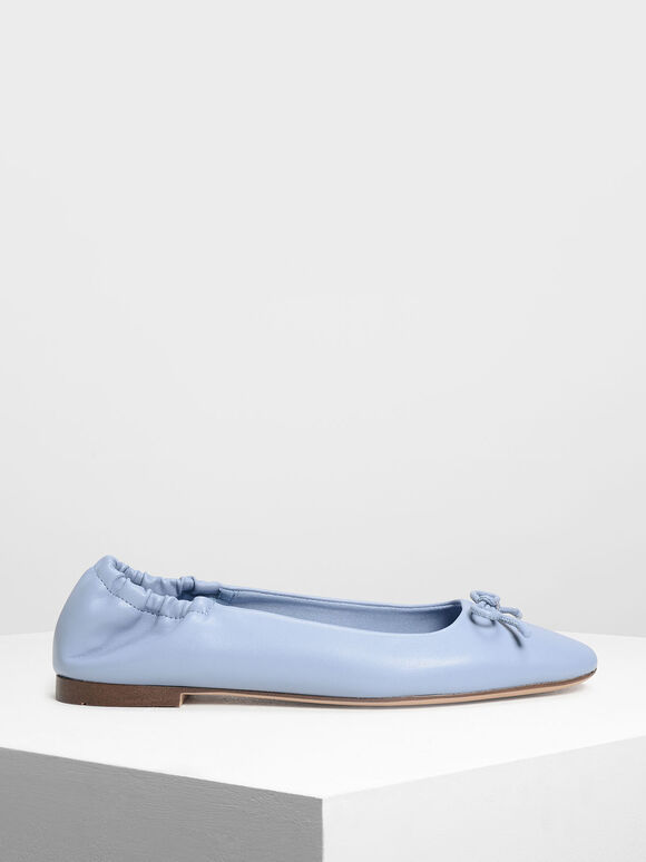 Bow Ballerina Flats, Light Blue, hi-res